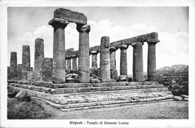 "Postcard depicting the Temple of Juno, Girgenti, Sicily.  The text of the postcard reads ""Girgenti—Templo di Giunone Lucina""."